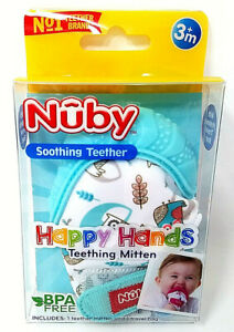 Nuby-Soothing-Teething-Mitten-w-Hygienic-Travel-Bag-Multiple-Colors