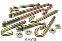 M6, M8 J HOOK BOLTS & SQUARE NUTS ROOFING GUTTERING FENCING FIXING ZINC PLATED