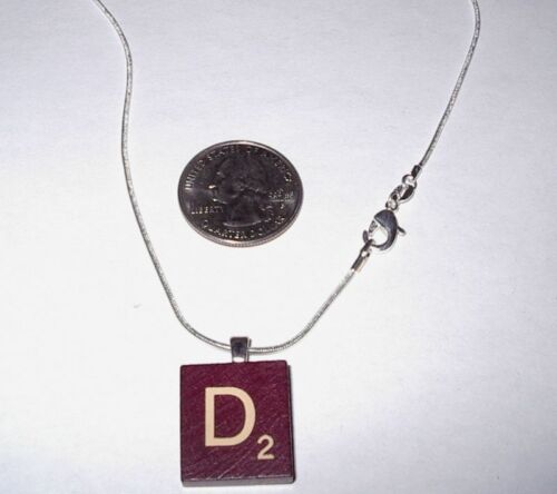 """/""""D/""""  RED MAROON BURGUNDY WOOD LETTER SCRABBLE  NECKLACE"""