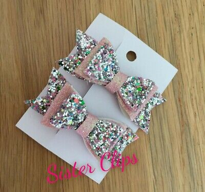 Handmade Girls Pink Sparkly Hair Bows 2.5/""
