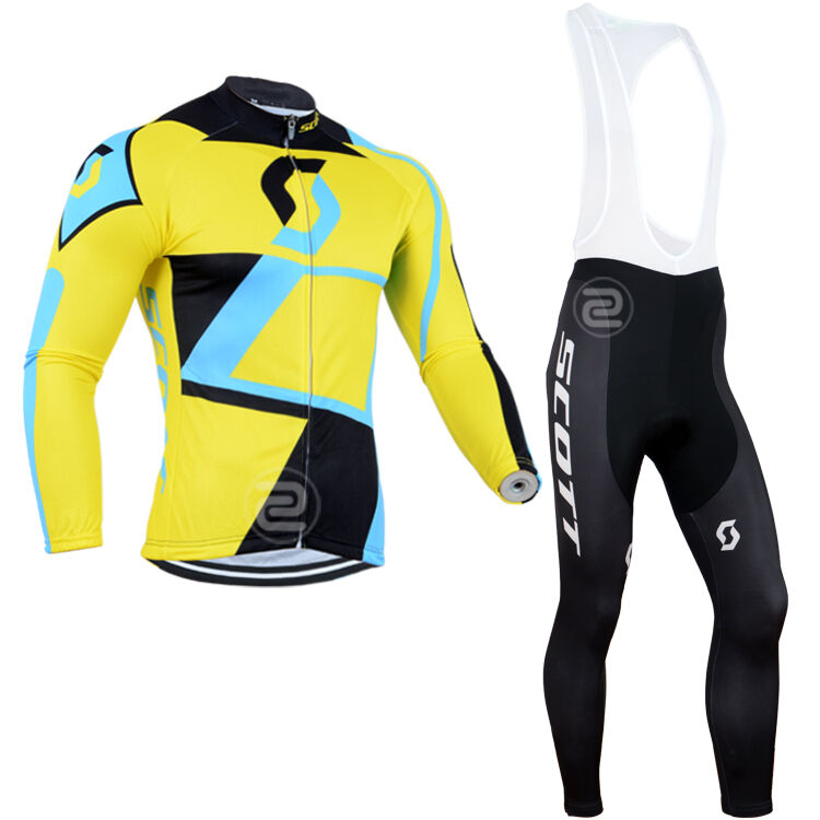 Fn022 Thermal Fleece uomo lungo sleeve cycling jersey set Bib pants Winter Fit