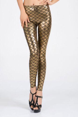 Mesdames chaud doré métallique poisson échelle sirène Leggings FANCY PANTS Taille 8-10