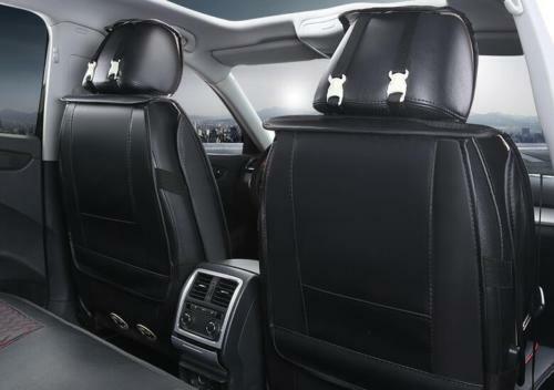 1+1 elegante asiento del coche referencia fundas para asientos de cuero artificial ya referencias color negro