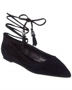 Women-039-s-BRIAN-ATWOOD-Skylar-Lace-Up-Black-Suede-Pointed-Toe-Ballet-Flats-Sz-7-5