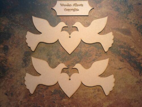 2x 220mm X 95mm Mdf Love Palomas hecha de MDF de 4mm aves adorno de artesanía