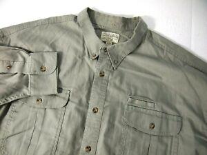 Cabelas Mens Shirt 3XL Olive Green Long Sleeve Button Hiking Fishing 906240