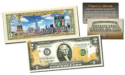 WORLD TRADE CENTER 9//11 Statue of Liberty *LEGAL TENDER* Gold Leaf $2 U.S BILL