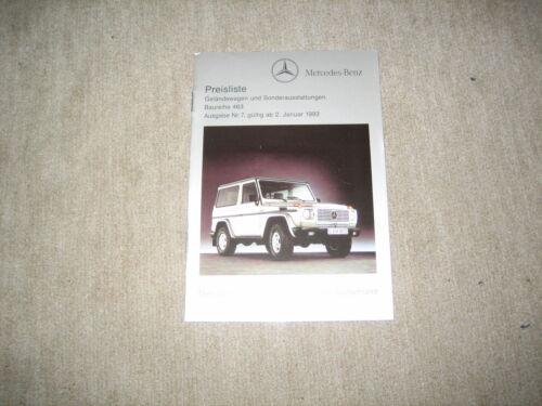 MERCEDES FUORISTRADA G-classe BR 463 LISTINO PREZZI PRICE LIST di 02.01.1993