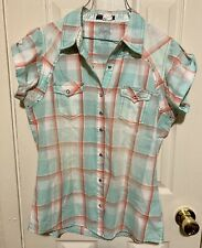 Wrangler Rock 47 Womens Turquoise Amp Coral Jewel Snaps Plaid Top Blouse Size Med