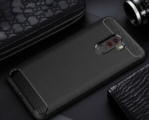 For-Xiaomi-Pocophone-F1-Case-Carbon-Fibre-Cover-amp-Glass-Screen-Protector