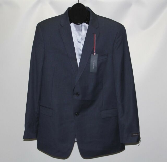 754ad5a5098 Tommy Hilfiger Blue Mens Size 46 Long Two Button Wool Blazer #014 ...