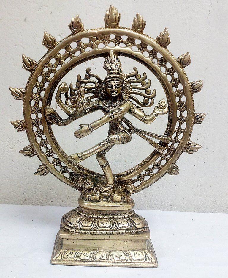 Messing Natraj Statue Gott des Tanzes Siva Hindu Gott SHIVA Tempel Figur Skulptu