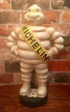 "Michelin Man Bibendum Detroit Reg. 1918 Vintage Cast Iron 15.5"" Statue on Tire"