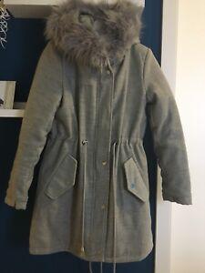 buy online af3e2 11670 Details zu Damen Mantel Wintermantel mit Innenfell gefüttert Kapuze mit  Fell grau Gr. S 36