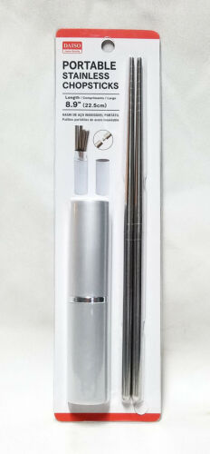 Bento Lunch Camping Daiso Japan Portable Stainless Steel Chopsticks with Case