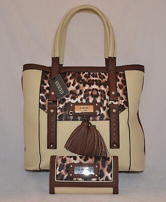 GUESS Virginia Beach Satchel Bag Purse Wallet Set Black Red Cream Leopard Tassel