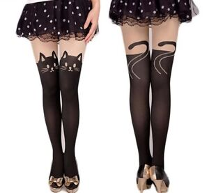 Pantyhose-Printed-Tattoo-Design-Pattern-Stockings-Cat-Shape-4-Style-Sheer-Tights