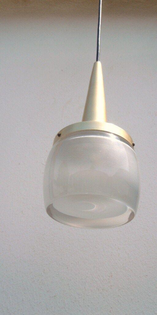 Lustre suspension galet verre aluminium design Staff Leutchen 1960