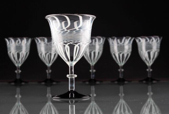 6 Art Deco Weingläser Fadenglas schwarz (lila) weiß Gläser ~ 20er Lauscha ? R6U