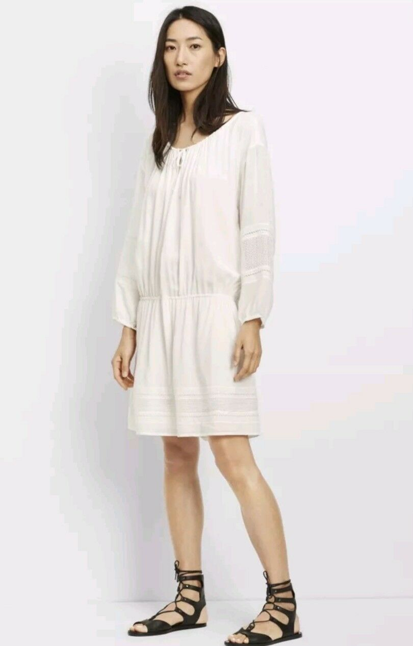 VINCE. Women's Off White Lace Boho Mini Dress M  345 Laser Cut Drop Waist