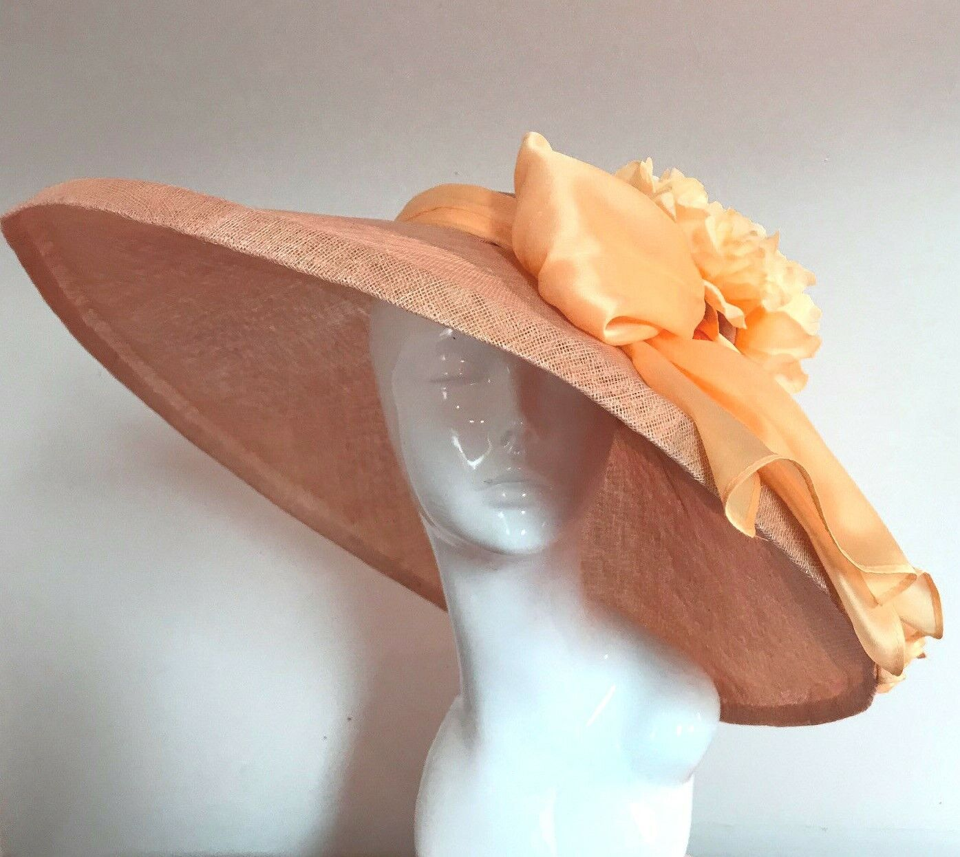 Exclusive Peach Designer Millinery by Hat Couture Wedding Bridal AscotHat
