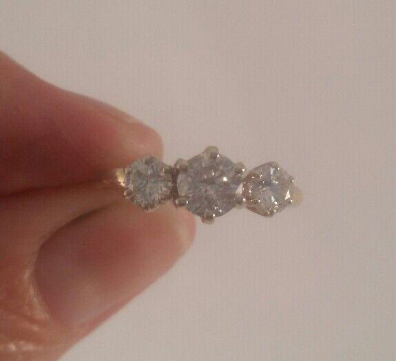 14K Yellow gold Three Diamond Engagement Ring FREE SIZING    1.05 carats