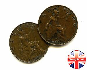 A pair of 1908 British Bronze EDWARD VII FARTHING Coins - Buckinghamshire, United Kingdom - A pair of 1908 British Bronze EDWARD VII FARTHING Coins - Buckinghamshire, United Kingdom