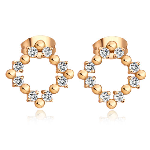 Lucky CZ Box Square Dangle Small Stud Earings 18K Gold Filled Earings Bijoux
