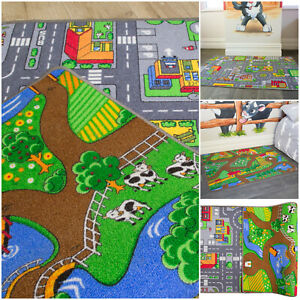 Details About 2 In 1 Reversible Roads Farm Play Rug Mat Kids Childs Bedroom