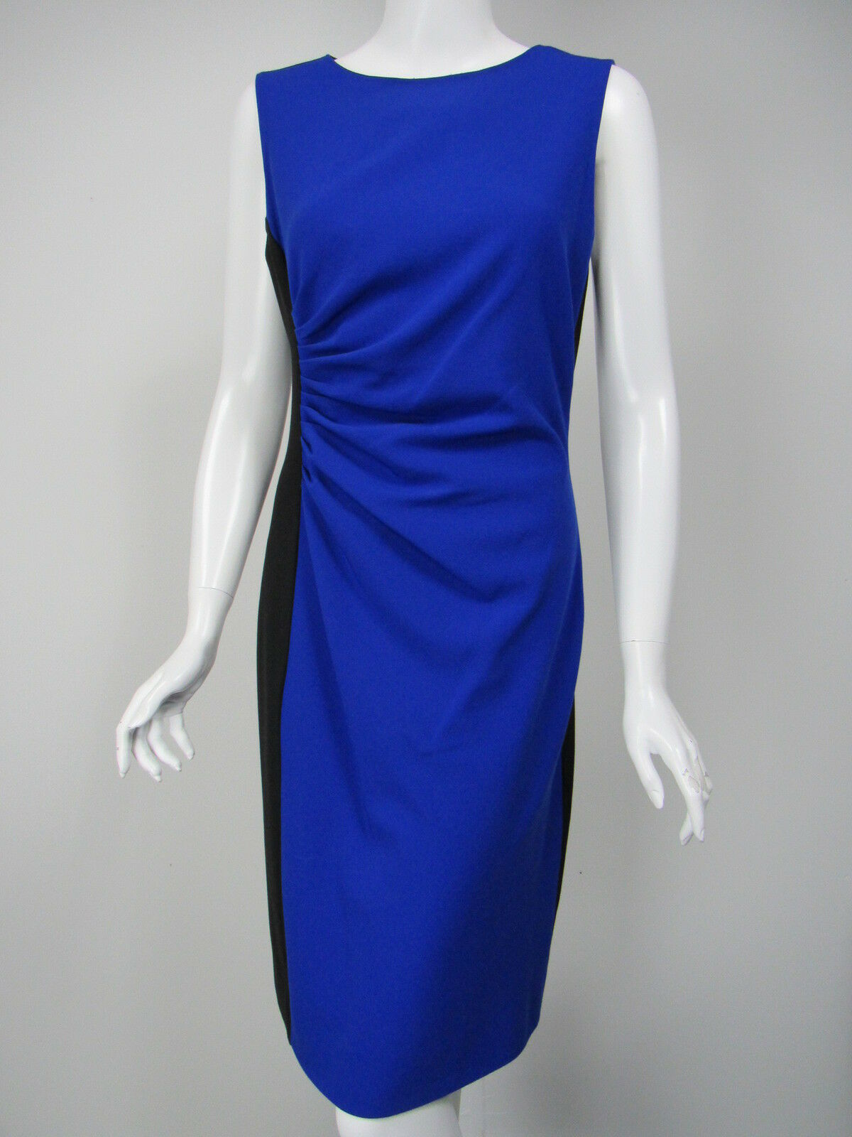 DIANE VON FURSTENBERG Laura schwarz Royal Blau Ponte Knit Sheath Dress sz 10
