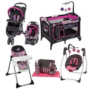Baby Girl Combo Playard Swing Chair Bag Set Stroller with ...