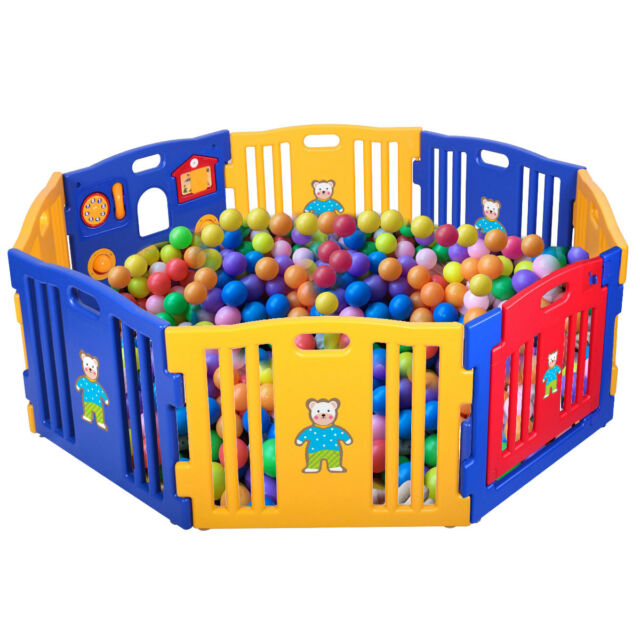 fa8909ca19aa6 Baby Playpen Safety Play Center Yard Kids 8 Panel Home Indoor Outdoor Fence