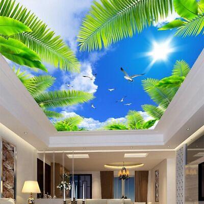 3D Ceiling Mural Wallpaper Living Room Wall Decor Blue Sky White Clouds Beach | eBay