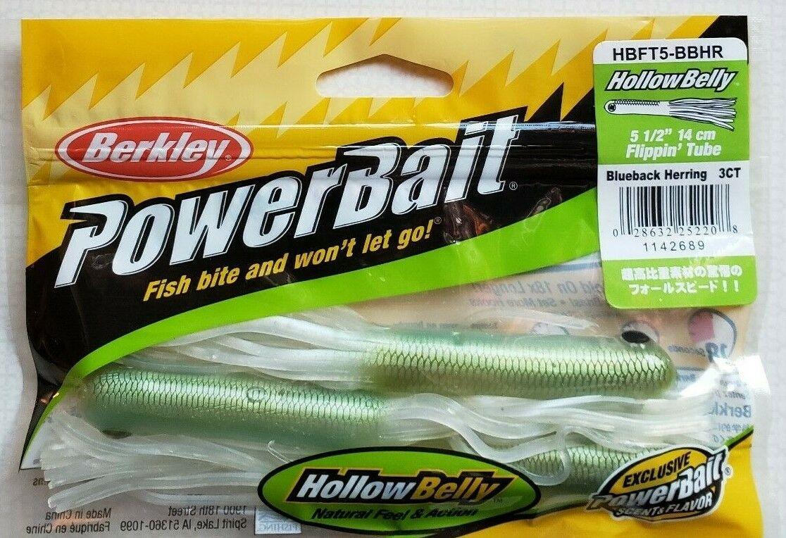 """Berkley Powerbait Hollowbelly Flippin Tube 5-1//2/"""" Blueback Herring HBFT5-BBHR"""