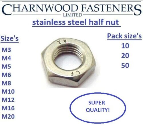lock nuts A2 Stainless steel Half nut/'s Sizes M3,M4,M5,M6,M8,M10,M12,M16,M20.