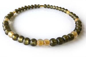 A-Sign-Golden-Desert-Halskette-Kette-Murano-Art-Glas-Perlen-Gold-Grau-Magnet