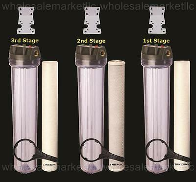 """Whole House Water Filter Purifier Sediment & CTO Carbon 3 High Flow 20"""" Systems"""