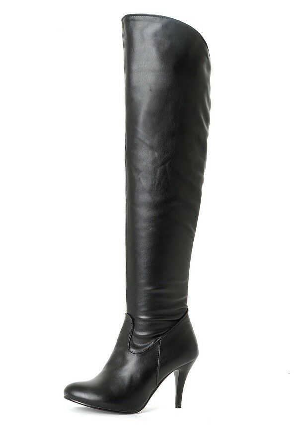Ladies Club shoes Synthetic Leather High Heels Zip Over Knee Boots US Size b056