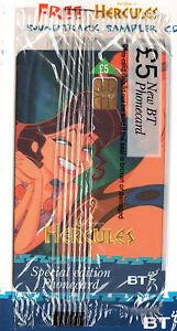 HERCULES-Meg-MEGERA-BT-PHONE-CARD-Sealed-UNUSED-British-Telecom-Phonecard-Disney