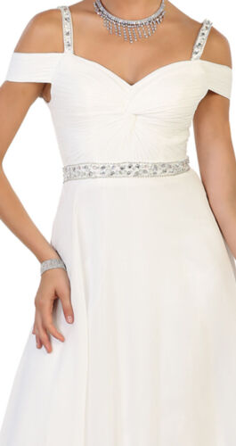 NEW WEDDING DESTINATION EVENING FORMAL GOWN BRIDAL RECEPTION OFF SHOULDER DRESS