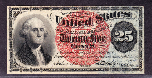 US 25c Fractional Currency Note 4th Issue FR 1307 Ch CU