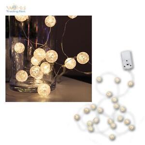 Batterie-LED-Lichterkette-034-Kugeln-034-15-LEDs-warmweiss-15-Baelle-Lichtkette