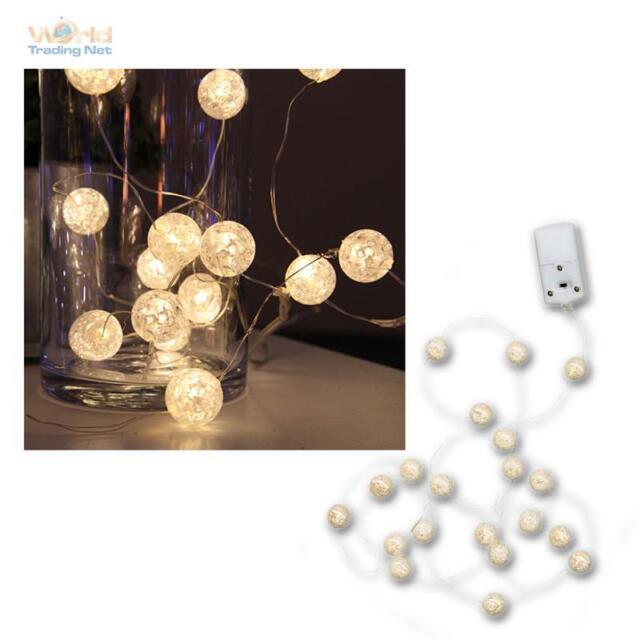 """Batteria Catena Luminosa LED """" Sfere """", 15 Bianco Caldo, 15 Palle di Luci"""