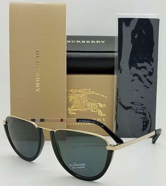 e08110bbd9bb1 NEW Burberry Sunglasses BE3098 114587 Black Gold AUTHENTIC plaid 3098 Men  Women