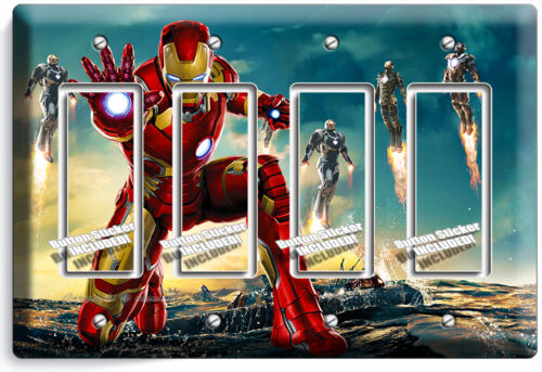 IRONMAN SUPERHERO LIGHT SWITCH OUTLET WALL PLATE COVER BOYS BEDROOM IRON MAN ART