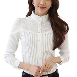 Women's Vintage Collared Pleated Button Down Shirt Long Sleeve ...