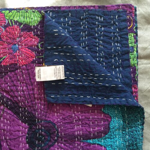 "Pottery barn teen Kantha Cloth Coverlet  60 x 80/"" purple green aqua blue blanket"