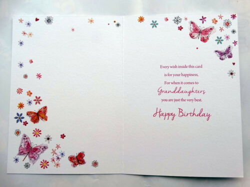 To A Beautiful Granddaughter Butterfly Flower Design Modern Happy Birthday Card