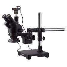 Amscope 35x 180x Trinocular Stereo Zoom Microscope Boom Ring Light 14mp Cam