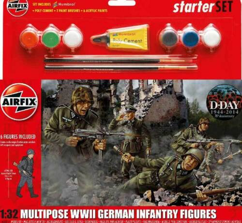 Airfix Soldiers German Infantry 1:3 2 Colour Adhesive Paintbrush Model Kit